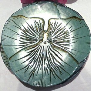 Green and Gold Sculpted Art Glass Luncheon Plates